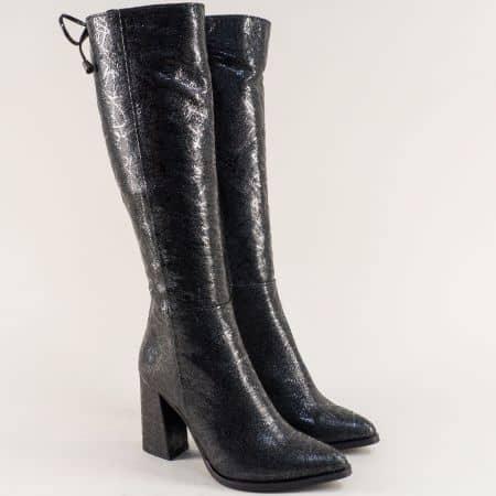 Черни дамски ботуши от естествена кожа на висок ток f170chsr