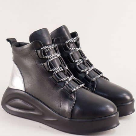Дамски зимни обувки от естествена кожа в черен цвят f19ch