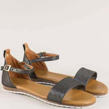 Бронзови дамски сандали с кожена стелка и катарама f200brz