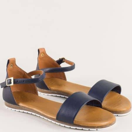 Дамски сандали от естествена кожа в тъмно син цвят f200s