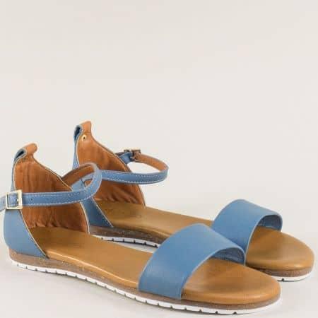 Сини дамски сандали на равно ходило с кожена стелка f200ss