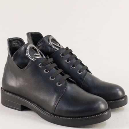 Дамски обувки от 100% естествена кожа в черен цвят f2016ch