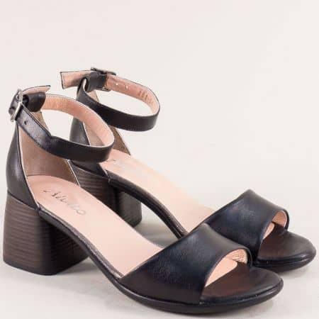 Черни дамски сандали със затворена пета на среден ток f202ch