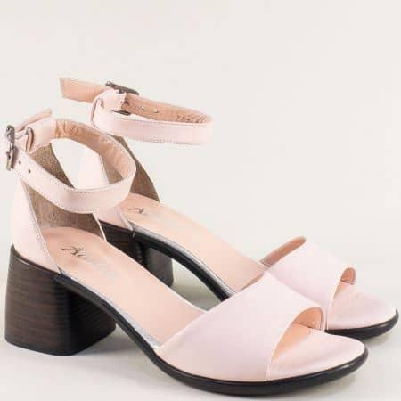 Розови дамски сандали със затворена пета на среден ток f202rz