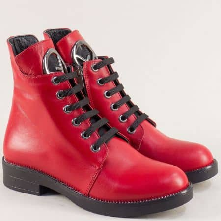 Червени дамски боти от естествена кожа на нисък ток f2077chv