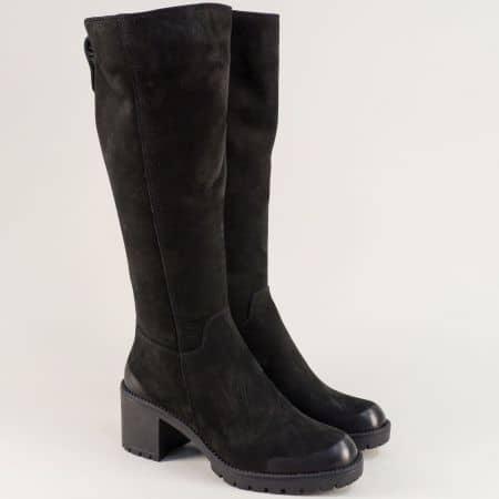 Черни дамски ботуши от естествен набук с топъл хастар f2114nch