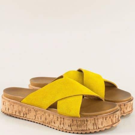 Велурени дамски чехли с кожена стелка в жълт цвят f3000vj