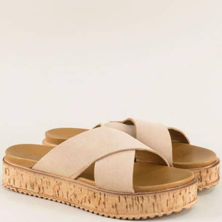 Велурени дамски чехли на платформа в розов цвят f3000vrz