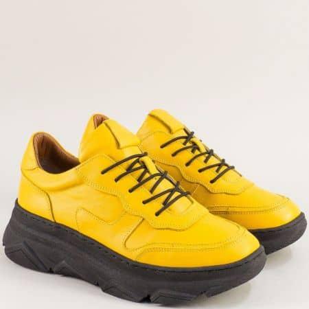 Кожени дамски маратонки на платформа в жълто f3112j