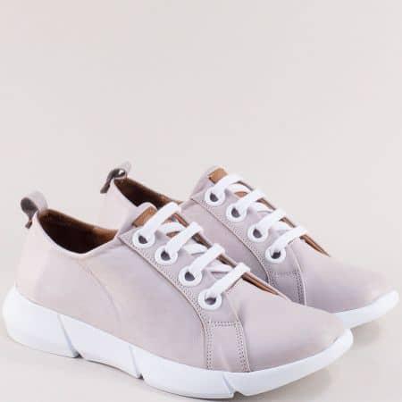 Бежови дамски обувки с връзки от естествена кожа f339bj