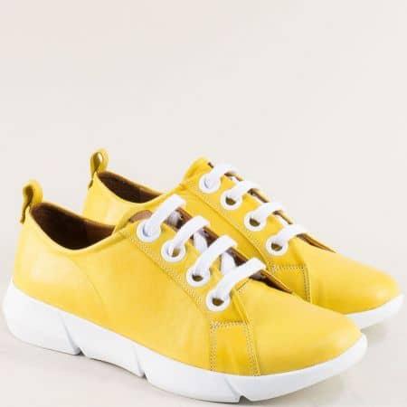 Жълти дамски обувки с връзки от естествена кожа f339j