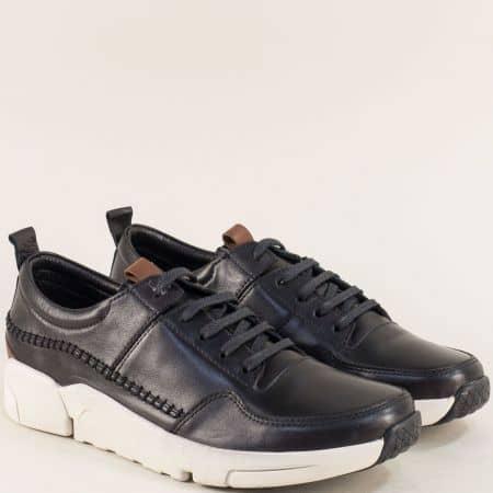 Черни мъжки обувки с кожена стелка на бяло ходило f4100ch