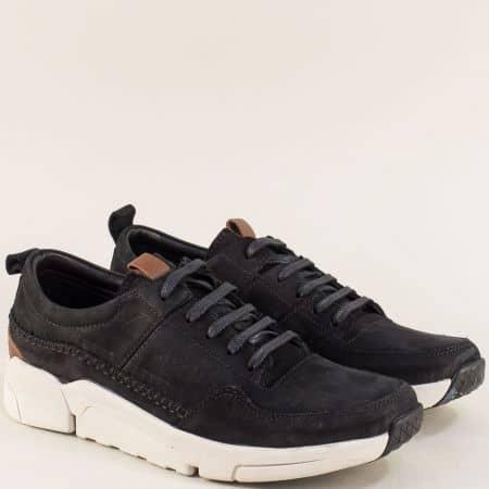 Черни мъжки обувки от естествен набук на бяло ходило f4100nch
