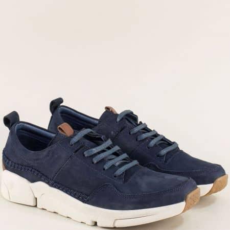 Тъмно сини мъжки обувки с връзки от естествен набук f4100ns