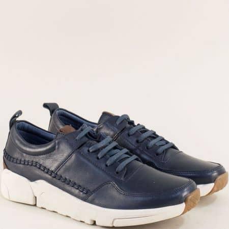 Сини мъжки обувки от естествена кожа на бяло ходило f4100s