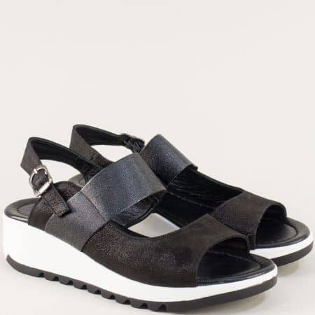 Дамски сандали на платформа от естествена кожа в черно f41ch