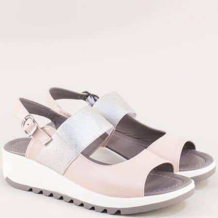 Дамски сандали в сребро и розово с кожена стелка f41rz