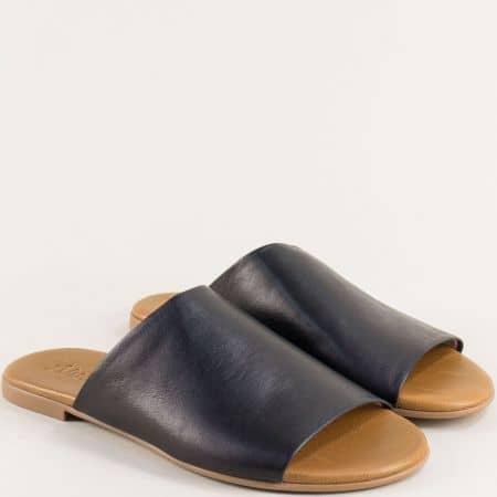 Черни дамски чехли на комфортно равно ходило от естествена кожа f5007ch