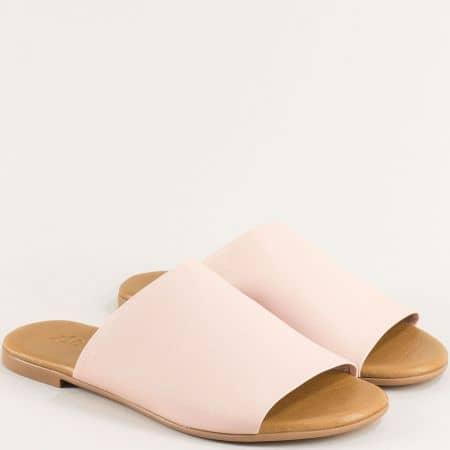 Равни дамски чехли от естествена кожа в розов цвят f5007rz