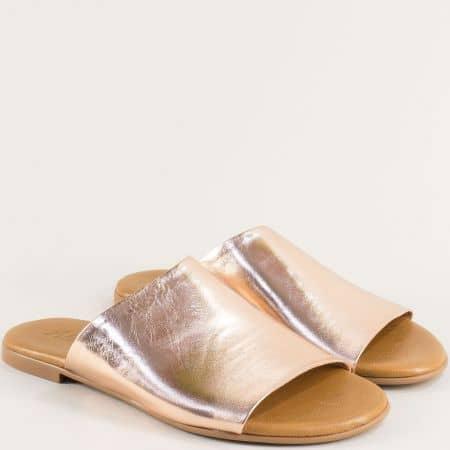 Равни дамски чехли от естествена кожа в цвят розово злато f5007rz1