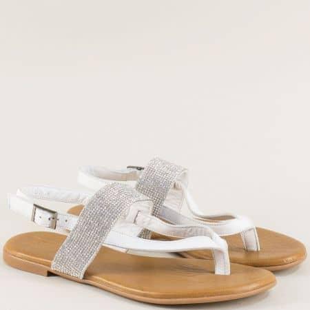 Кожени дамски сандали с блестящи камъчета в бяло f5018b