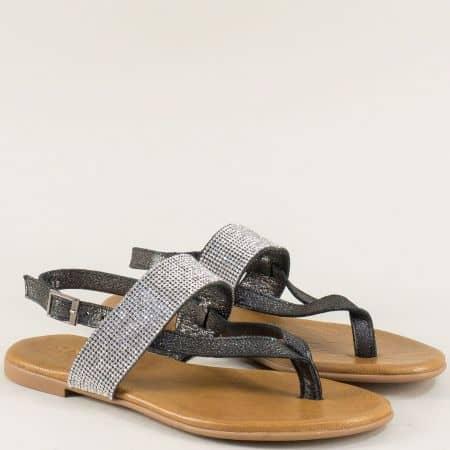 Бронзови дамски сандали от естествена кожа на равно ходило между пръста f5018brz