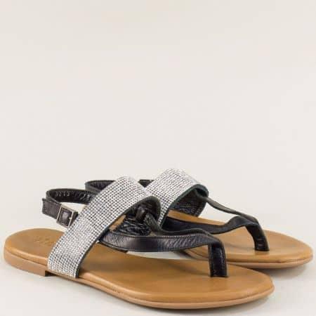 Черни дамски сандали с кожена стелка на равно ходило f5018ch
