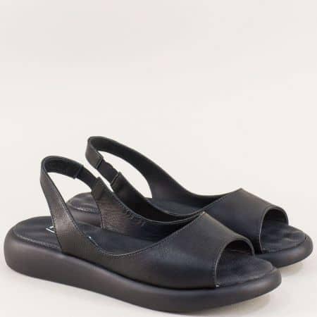 Равни дамски сандали от естествена кожа в черен цвят f505ch