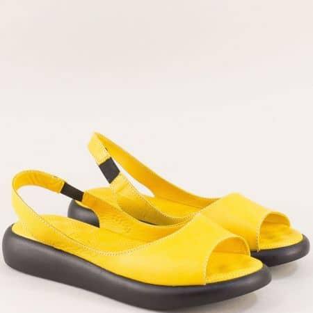 Жълти дамски сандали с ластик от естествена кожа  f505j