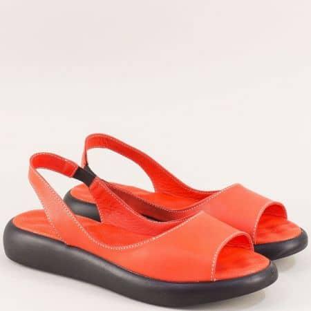 Равни дамски сандали от естествена кожа в оранж f505o