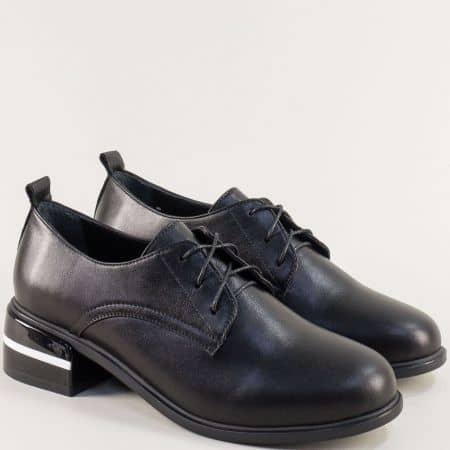Кожени дамски обувки с връзки на нисък ток в черен цвят f5600ch