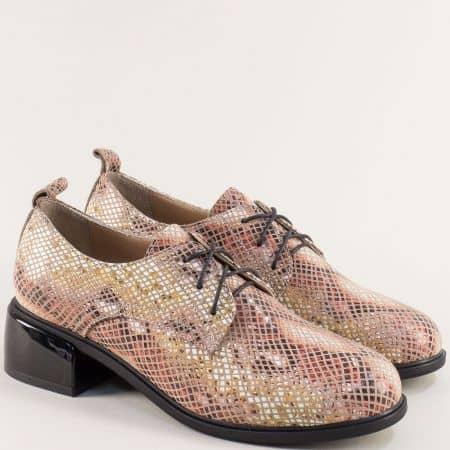 Бежови дамски обувки със златист принт на нисък ток f5600zps