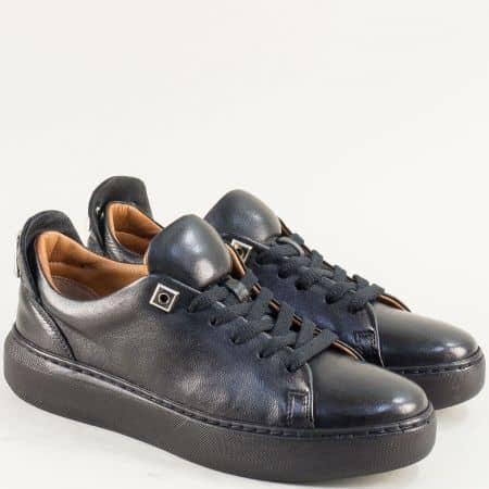 Черни дамски обувки на равно ходило от естествена кожа f574ch