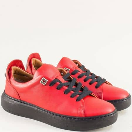 Спортни дамски обувки от естествена кожа в червен цвят f574chv