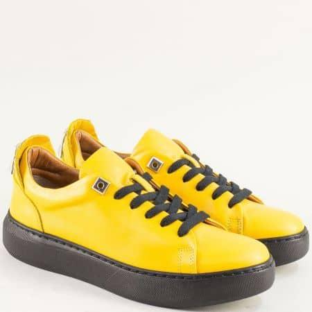 Кожени дамски кецове на шито ходило в жълт цвят f574j