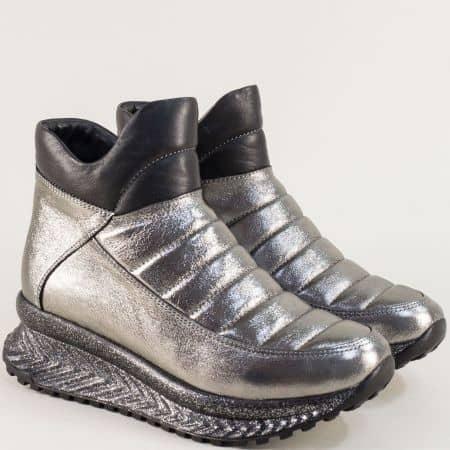 Дамски спортни боти от естествена кожа в сребро f600sr
