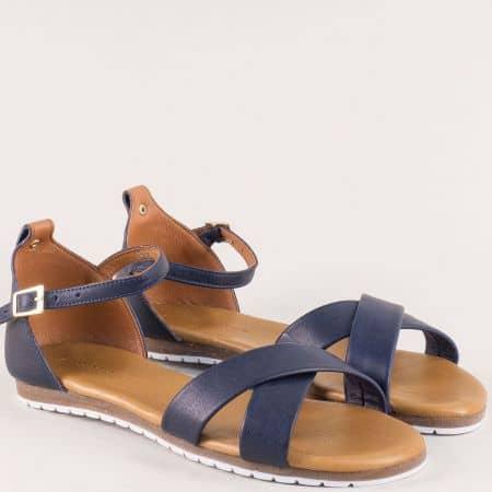 Тъмно сини дамски сандали със затворена пета от кожа на равно ходило f6010ts