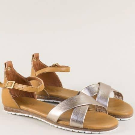 Кожени дамски сандали в кафяво и бронз на равно ходило f6010brz
