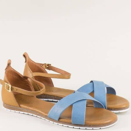 Равни дамски сандали в кафяво и синьо с кожена стелка f6010s