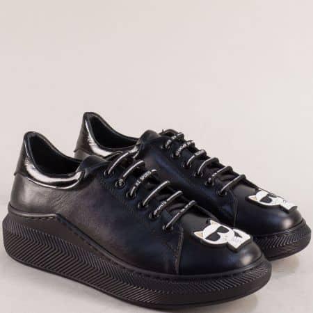 Дамски черни обувки естествена кожа с коте f701ch
