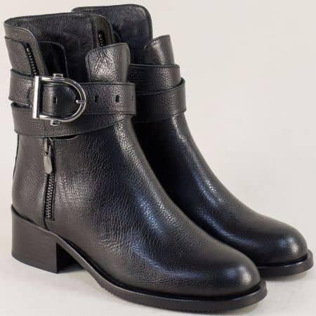 Черни дамски боти на среден ток от естествена кожа f727ch