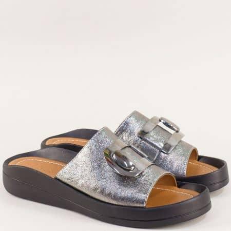 Бронзови дамски чехли от естествена кожа с декорация f805brz