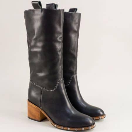 Fashion дамски ботуши на среден ток в черен цвят f834ch