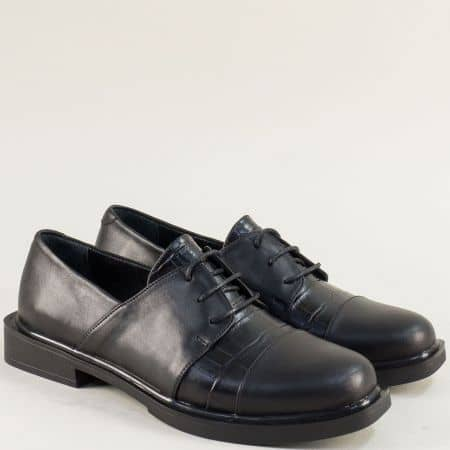 Дамски обувки с връзки от естествена кожа в черен цвят f839chps