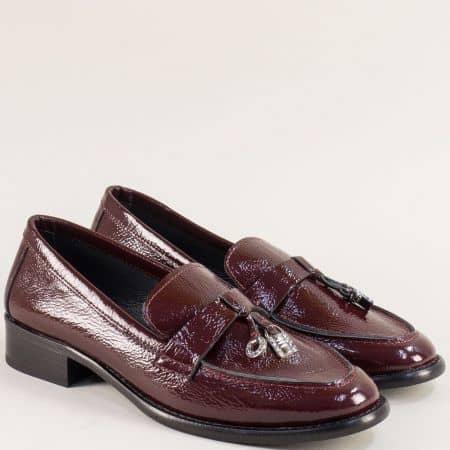 Дамски обувки на нисък ток от естествен лак в бордо f869lbd