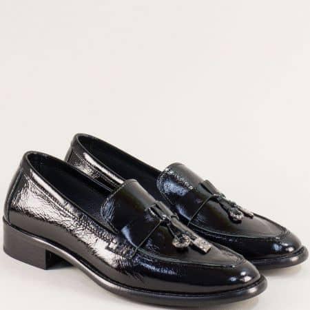Черни дамски обувки от естествен лак на нисък ток f869lch