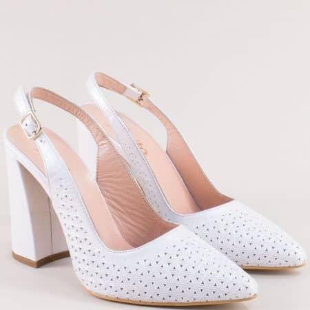 Бели дамски обувки с отворена пета на висок ток f951b