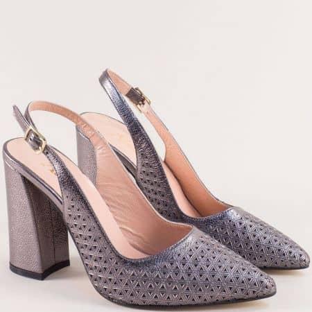 Бронзови дамски обувки с от ворена пета на висок ток f951brz