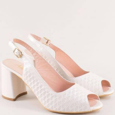 Бежови дамски сандали от естествена кожа на висок ток f955bj
