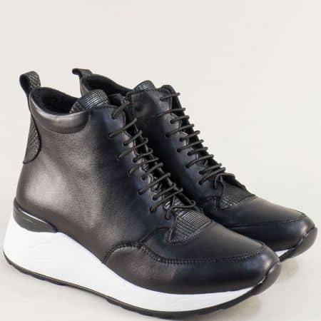 Спортни зимни дамски обувки от естествена кожа на платформа f9722ch